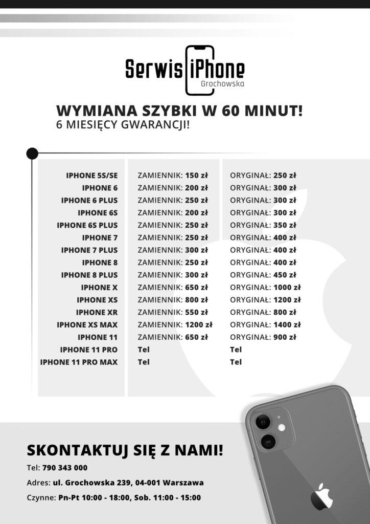 Cennik wymiana szybki iPhone Warszawa